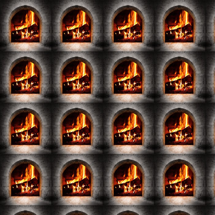 Vintage fireplace with burning logs. Vinyl Wallpaper - Fireplace