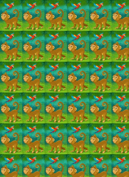 Vinylová Tapeta Cartoon jungle - ilustrace pro děti - Pozadí