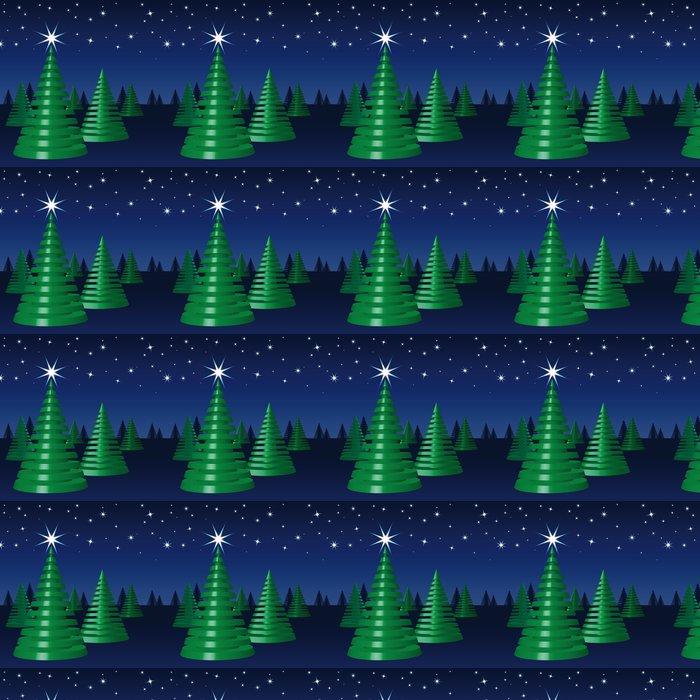 Vinylová Tapeta Veselé Vánoce, Tannenbäume, Sternenhimmel, Nacht - Mezinárodní svátky