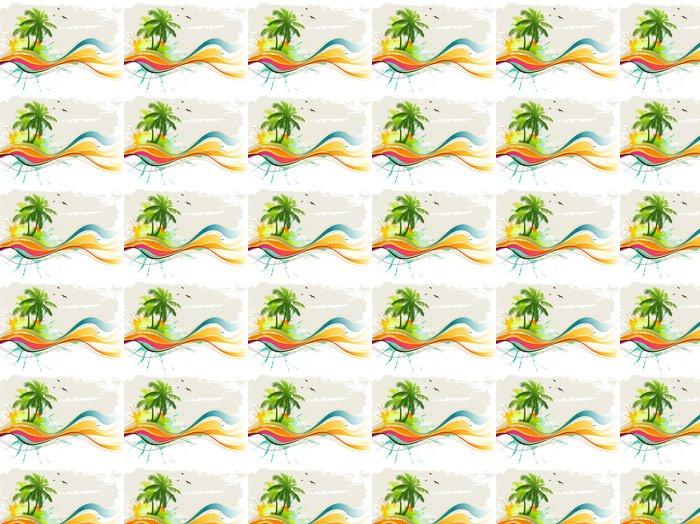Papier Peint à Motifs Vinyle Contexte Tropical - Arbres et feuilles