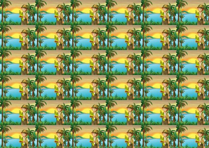 Vinylová Tapeta Chlapec s papouškem na břehu řeky - Prázdniny