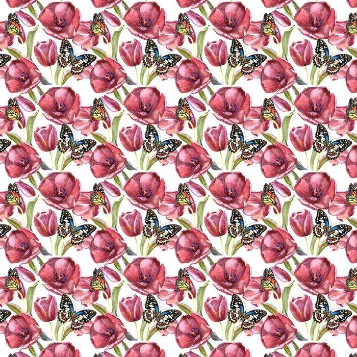 Vinylová Tapeta Wildflower tulipán květinový vzor ve stylu akvarelu izolované. - Rostliny a květiny