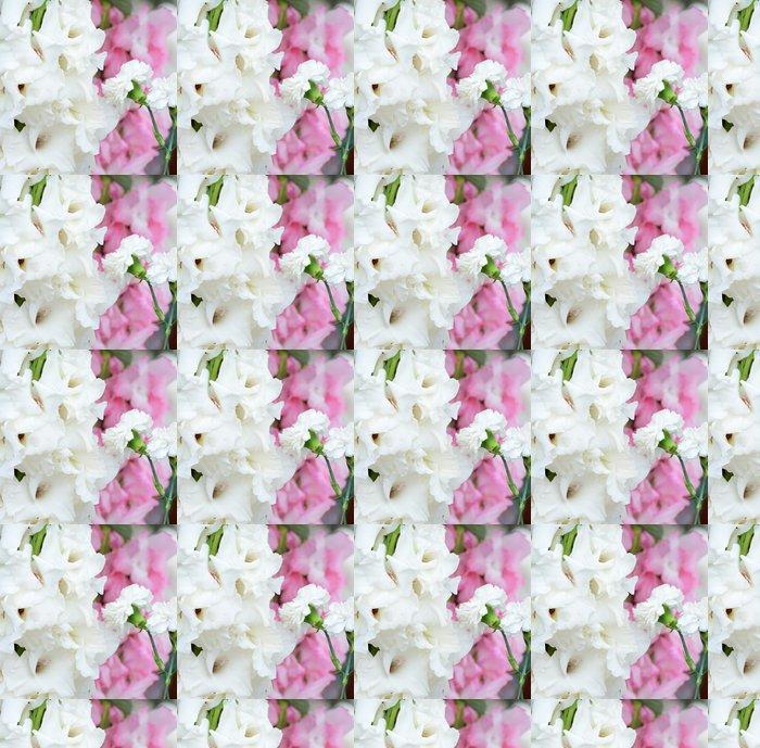 Vinylová Tapeta Kytici bílých gladioluses, na zeleném pozadí - Květiny
