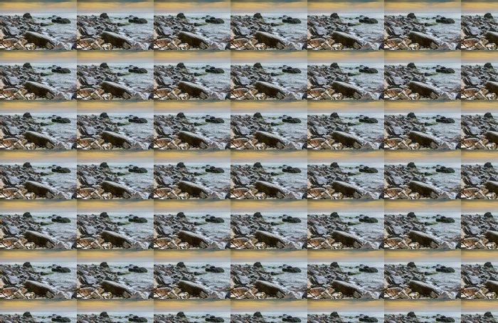 Vinylová Tapeta Přímořská krajina, malebné velké kameny proti moře a nebe - Voda