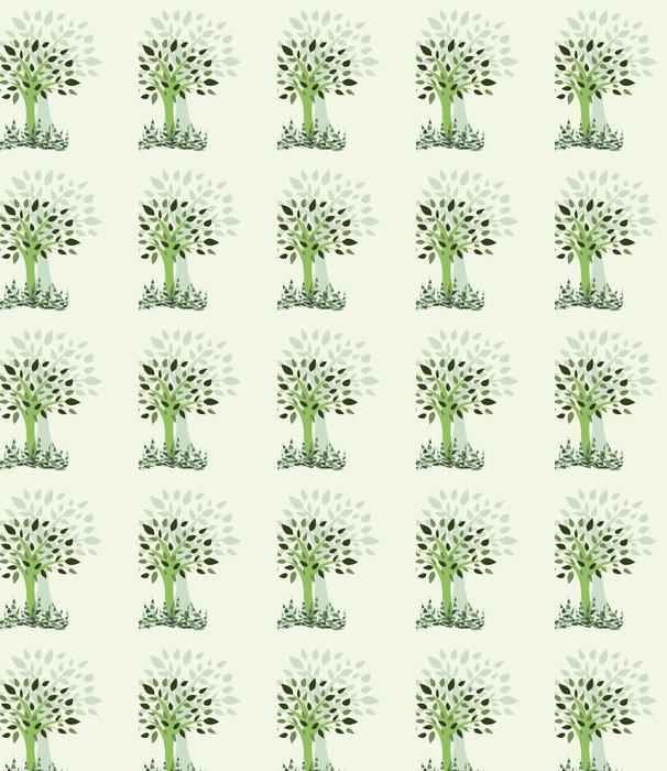 Vinylová Tapeta Karta s stylizované s strom a trávy - Ilustrace - Přírodní krásy