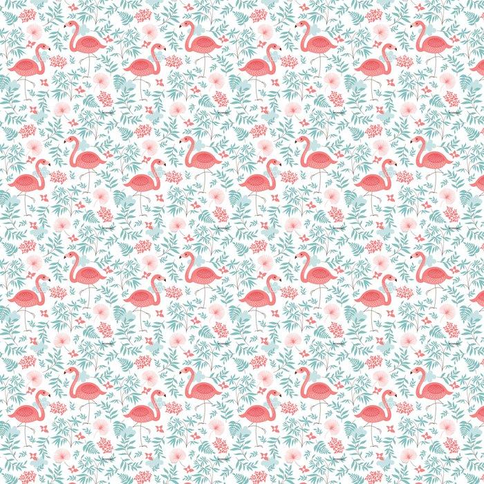 Vinil Duvar Kağıdı Pembe flamingo ile kesintisiz desen -