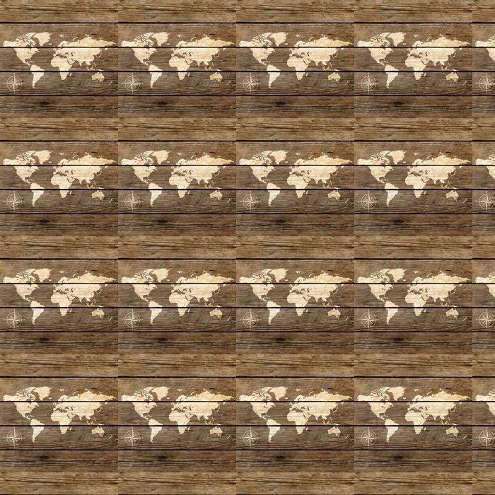 Vinylová Tapeta Mapa světa na dřevěné desce vektoru - Témata