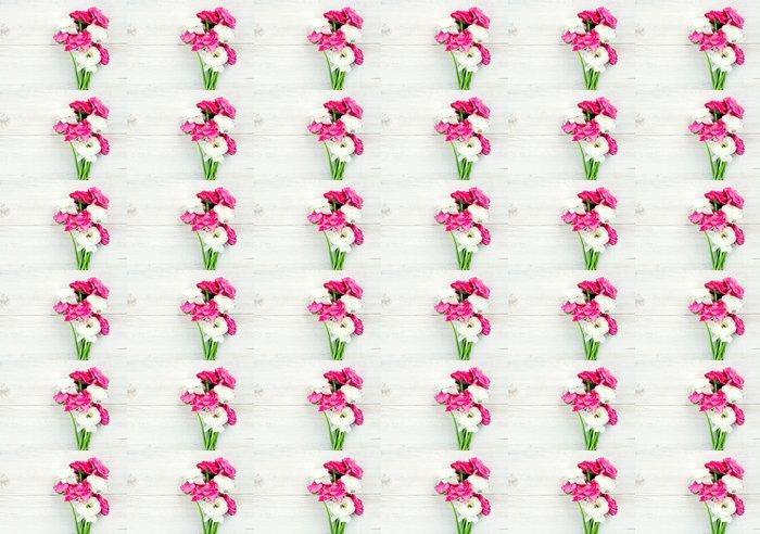 Carta da Parati a Motivi in Vinile Rosa e bianchi fiori di ranuncolo sulla superficie leg - Fiori