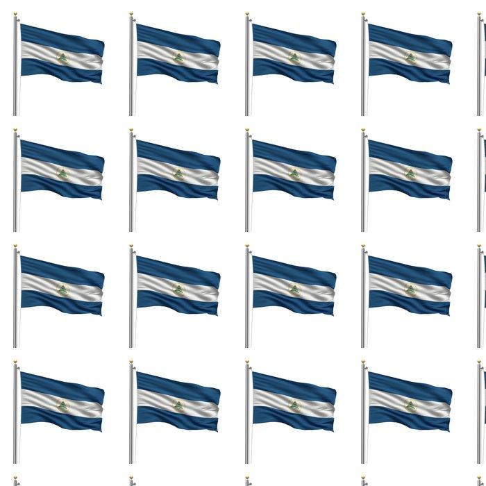 Vinylová Tapeta Vlajka Nikaragua mávání ve větru v přední části bílém - Amerika