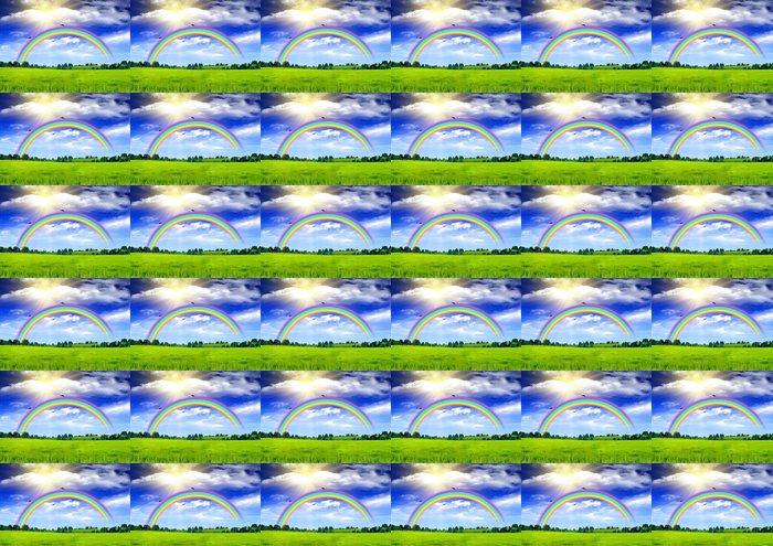 Vinylová Tapeta Duha na modré obloze nad mýtinu - Pozadí