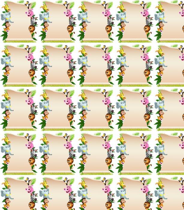 Carta da Parati a Motivi in Vinile Cartone animato animale con carta bianca - Mammiferi