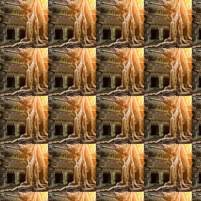Vinylová Tapeta Obří strom pokrývající Ta Prom chrám, Siem Reap, Kambodža - Památky