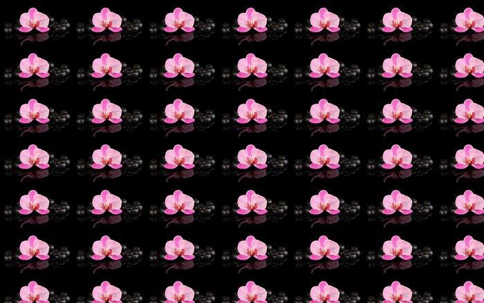 Vinylová Tapeta Lázně kameny s orchidejí květina na černém - Životní styl, péče o tělo a krása