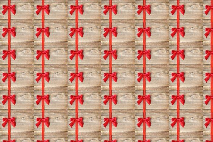 Schleife in Rot auf Holz Vinyl Wallpaper - International Celebrations