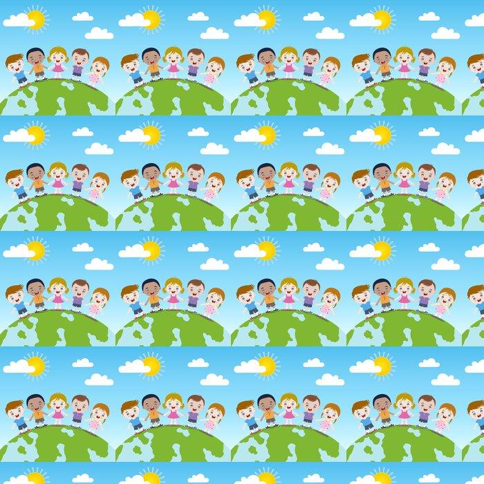Vinylová Tapeta Šťastné děti společně na Zemi -