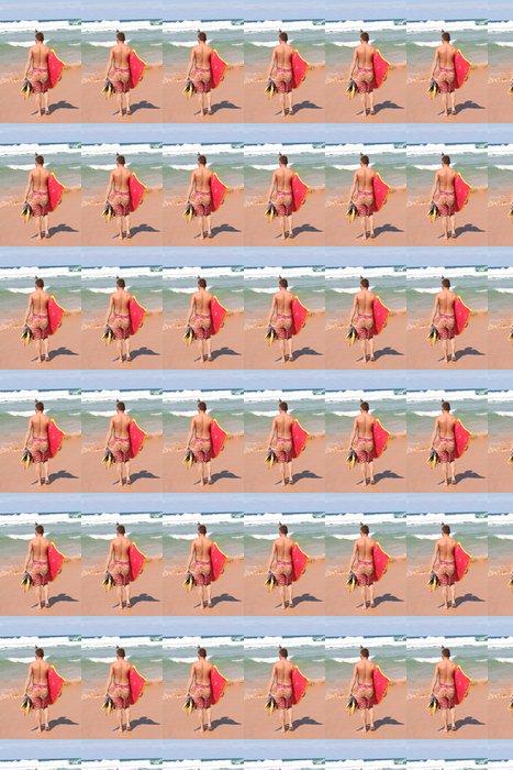 Vinylová Tapeta Bodyboarder chůzi na pláži - Prázdniny