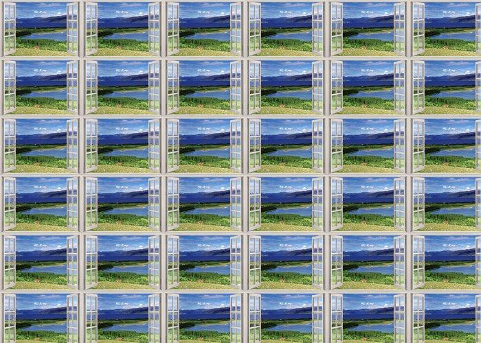 Vinylová Tapeta Otevřené okno výhled na krajinu s řekou, kopců a polí - Témata