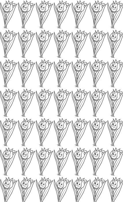 Vinylová Tapeta Tulipán - černá a bílá kreslené ilustrace - Květiny
