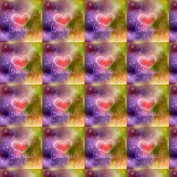 Vinylová Tapeta Miluji tě. Tažené srdce na mokré sklo - Mezinárodní svátky