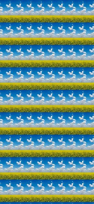 Vinylová Tapeta Žlutá pole řepky plodin s modrou oblohou nad - Roční období