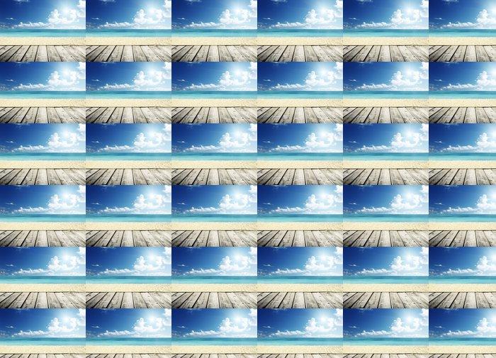 Vinylová Tapeta Tropické pláže a dřevěná plošina - Voda