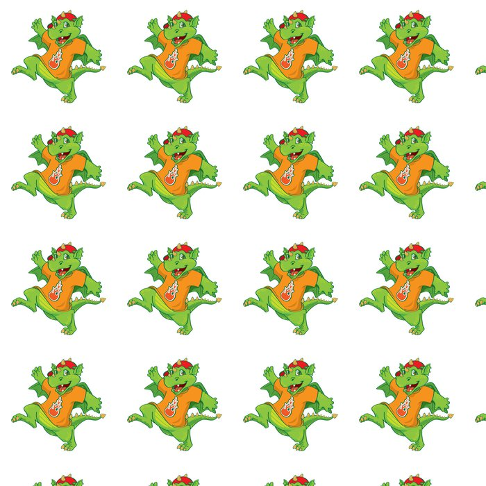Vinylová Tapeta Malý zelený drak chlapec v oranžovém tričku - Nálepka na stěny