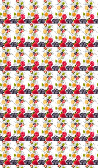 Vinylová Tapeta Čerstvé ovoce ve vodě stříkající - Maliny