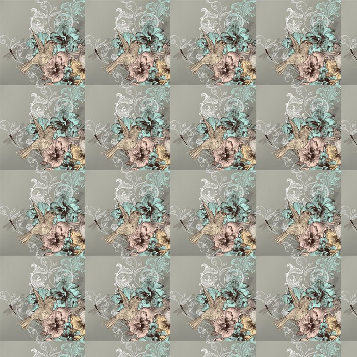Vinylová Tapeta Elegantní květinové pozadí s květinami a kolibříky - Ptáci