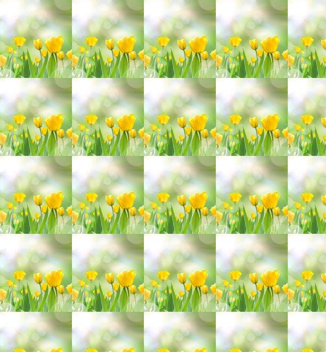 Vinylová Tapeta Krásné žluté tulipány s ohledem promítnout do rána - Roční období