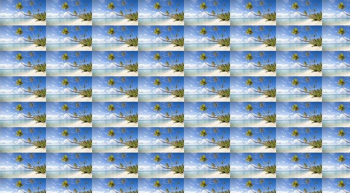 Vinylová Tapeta Tropické bílá písečná pláž a modré laguny ve Francouzské Polynésii - Panorama