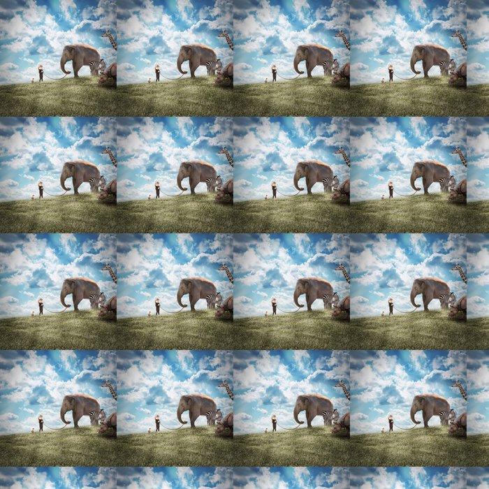 Vinylová Tapeta Dívka Chůze slon a zvířat ve volné přírodě - Témata