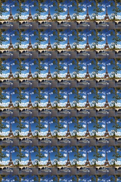 Vinylová Tapeta Eiffelova věž s lodí na Siene v Paříži, Francie - Témata