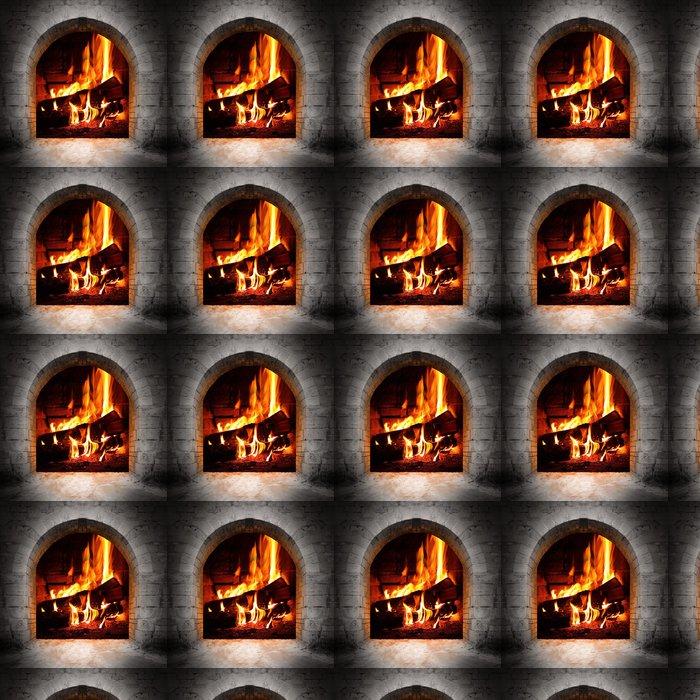 Vinylová Tapeta Vintage ohniště s hořící polena. - Krb