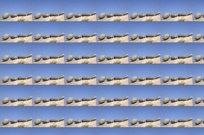 Papier Peint à Motifs Vinyle Pierres zen sur le bois flotté pourri au ciel bleu la plage - Textures
