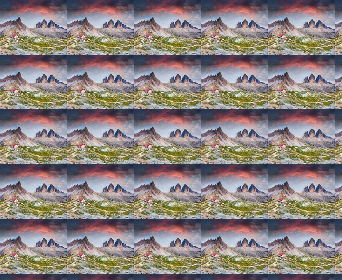Vinylová Tapeta Barevné léto slunce v Itálii Alpách Refugio Lacatelli, Tre Ci - Roční období