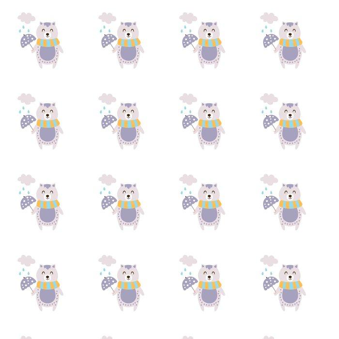 Vinylová Tapeta Violet Cat šály držící deštník za deště na podzim vzpřímeném postoji Humanizovaná zvířecí charakter ilustrace v Funky dekorativní styl - Zvířata