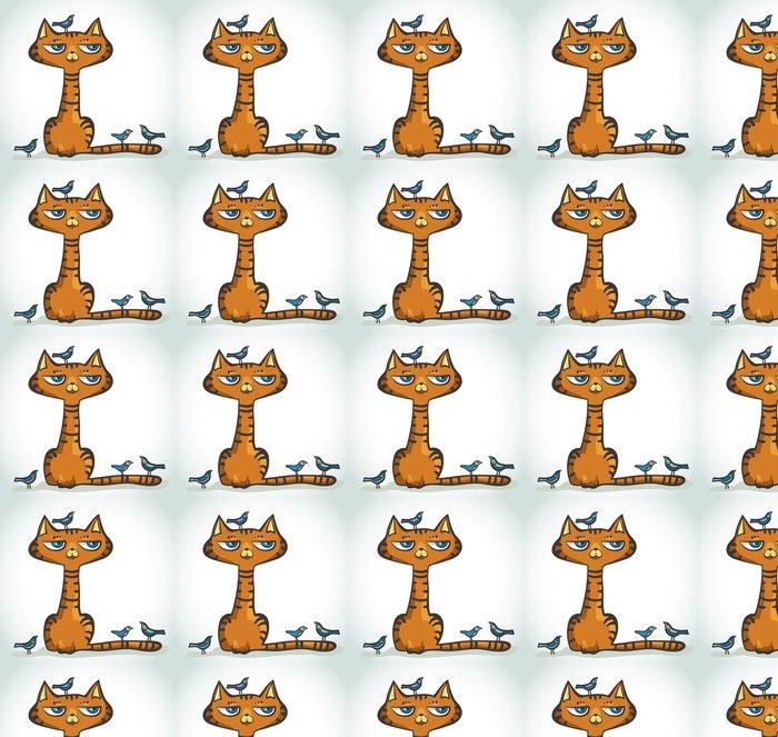 Vinylová Tapeta Cartoon kočka a ptáci. - Savci