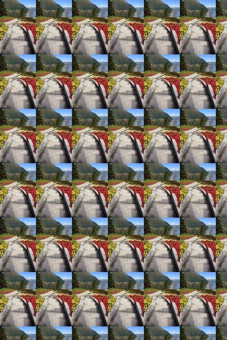 Vinylová Tapeta Příjezdová cesta a květinová zahrada v Faggeto Lario - Jezero Como - Roční období