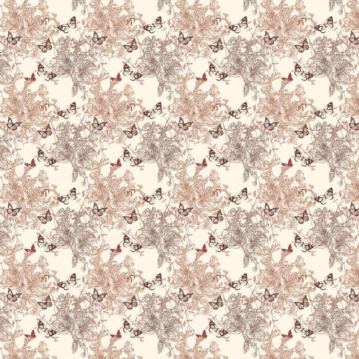 Vinylová Tapeta Elegantní bezešvé tapety vzor s květinami - Ostatní Ostatní