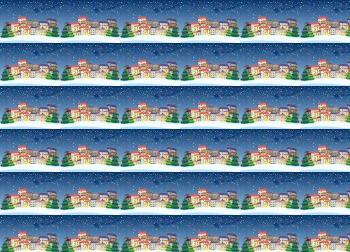 Vinylová Tapeta Obec s vánoční stromky - Soukromé budovy