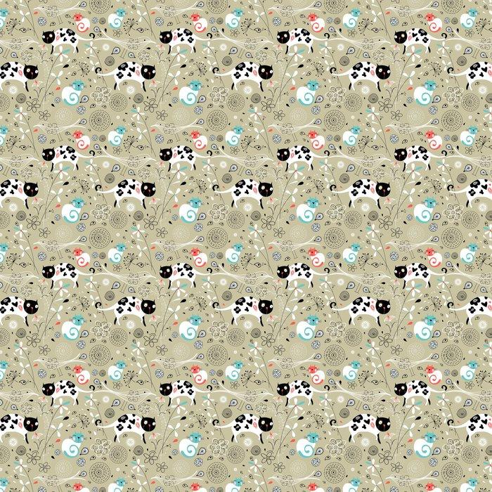 Vinylová Tapeta Bezešvé vzor jara s kočkami - Savci