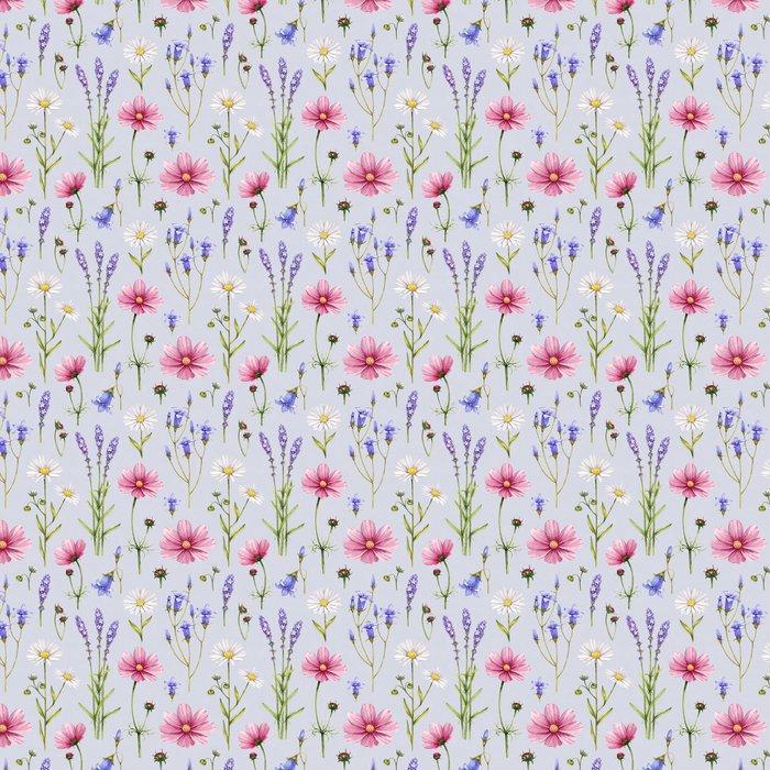 Vinylová Tapeta Divoké květiny ilustrační. Akvarel bezešvé vzor - Styly
