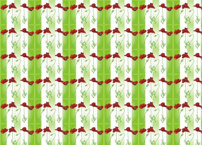 Vinylová Tapeta Letní máku na zelené pruhy - Roční období