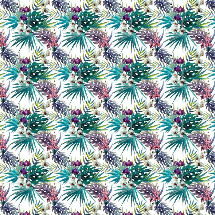 pattern orchid hibiscus leaves watercolor tropics Vinyl Wallpaper - iStaging