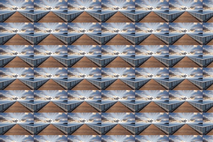 Vinylová Tapeta Dřevěné molo molo na pobřeží Tichého oceánu v USA. Západ slunce a šumivé - Témata
