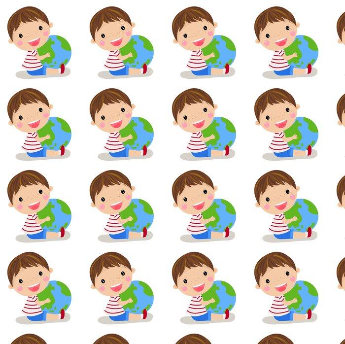 Vinylová Tapeta Roztomilý chlapec držel po celém světě - Děti