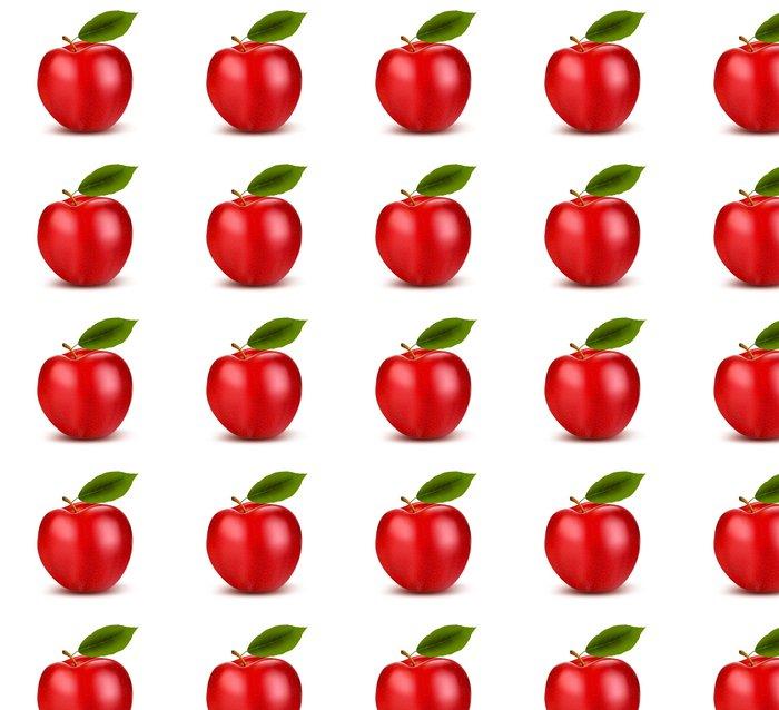Vinylová Tapeta Sada červených a zelených jablek ovoce s řezem a zelené listy. Vec - Jídla