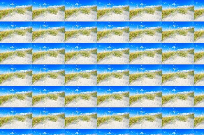 Vinylová Tapeta Tráva na bílém písečných dunách pláže a modré nebe - Prázdniny