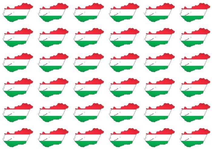 Vinylová Tapeta Mapa a maďarská vlajka - Evropa