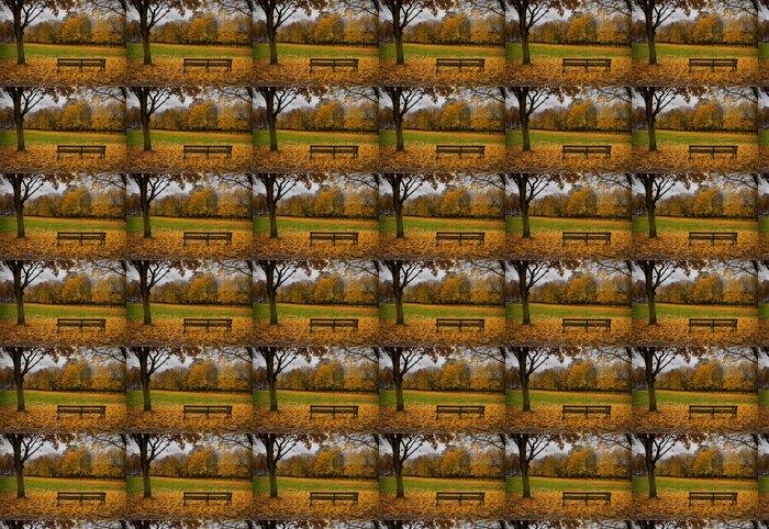 Vinylová Tapeta Lavice podzimní listí - Roční období
